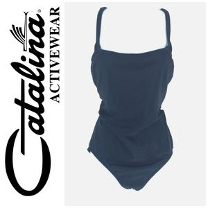 Catalina Plus Sz 1X Shiny Ribbed Swimsuit 1 Piece